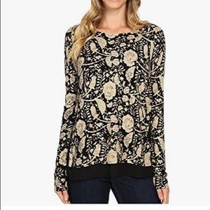 Lucky Brand floral print sweater with lace hem XS